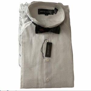 Boy's White Tuxedo Shirt with Black Tie